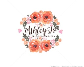 Floral Watercolor Logo Design - Heart Carnation Peonies Rose Watercolour Peony Berry Botanical PSD Photoshop Wedding Hand Drawn Boutique