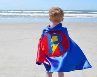 Personalized Superhero cape with Letter & Lightening Bolt Blue and Red , 2T - 7T, super hero big brother fast delivery Worldwide