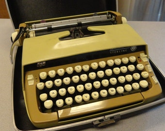Vintage TYPEWRITER Smith Corona Working Fabulous Sterling Portable Gold in Case