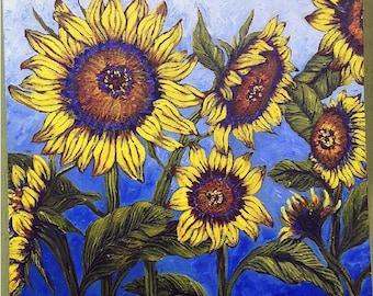 Wild Sunflowers on blue