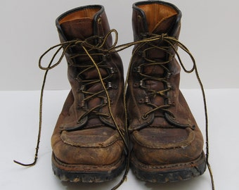 mens 1970s brown leather lace up work boots / Herman Survivor Boots