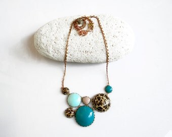Bib Statement Necklace, Leopard Teal Mint Polymer Clay Necklace