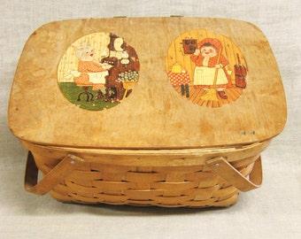 Vintage Woven Wooden Slat Picnic Basket, Storage, Organization, Outdoor Dining,Illustration, Decorated, Rustic, Cabin Decor,Summer,Weathered