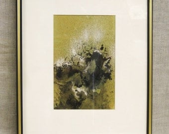 Watercolor Painting , Abstract , Ellen Malsch , Art , Original , Fine Art , Green , Framed , Paintings , Mid-Century , Hand Painted , Signed