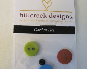 Garden Hen Button Pack from Hillcreek Designs B231-QDD
