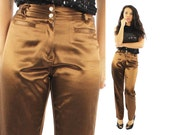 Vintage 90s Bronze Satin Pants Slacks Trousers High Waisted Pants Fall Winter Fashion 1990s 3/4 Small S Brown Express Blues