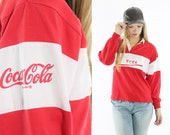 Vintage 80s Coca Cola Rugby Shirt Polo Style Red Top Long Sleeve Shirt 1980s Advertising Collectible Fashion Mens Womens Large L