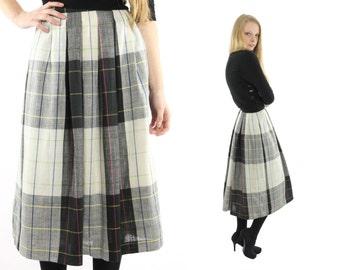 Vintage 80s Full Plaid Skirt Midi Tea Length Skirt Black White Linen High Waisted Skirt Womens Fall Fashion 1980s Small S