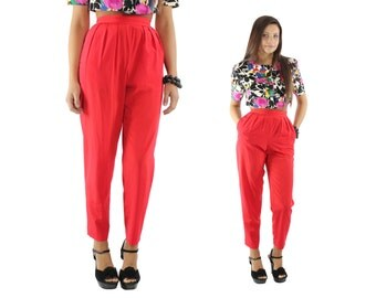 Vintage 80s High Waisted Pants Pleated Trousers Slacks Bright Red Pants 80s Womens Fashion Work Business Small S XS