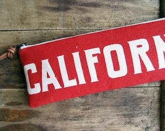 California Thunderbird Long Clutch Zipper Pencil Case Made in Nashville Screenprint Pouch Made in USA
