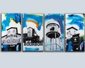Bourbon Art Original Paintings set of 4! Original bourbon large paintings on canvas Home Bar Kentucky Bourbon Art for Bar, Pop Art Paintings
