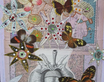 Flowers and Butterflies collage, mixed media, ooak, wall hanging, art