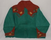 Vintage Boy's Green And Brown Embroidered Cowboy Shirt Boy's Western Shirt