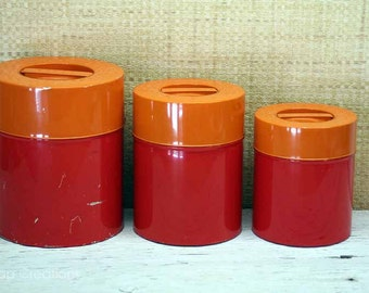 Vintage Orange Nesting Tin Canister Set