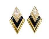 Swarovski Earrings, SAL, Swarovski Crystal, Gold Plated, Black Enamel, Art Deco Style, Vintage Jewelry