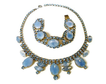 Blue Rhinestone Necklace Bracelet Juliana Style Iridescent Saphiret Look Gold Tone Vintage Jewelry
