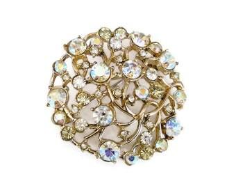 Yellow Rhinestone Aurora Borealis Brooch - Diamante Rhinestone, Gold Tone, Cluster Brooch, Vintage Brooch, Vintage Jewelry