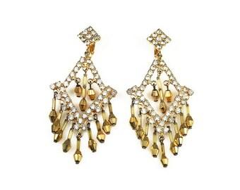 Russian Gold Rhinestone Chandelier Earrings - Metallic Beads, Fringe Earrings, Statement Earrings, Vintage Earrings, Vintage Jewelry