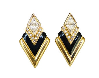 Swarovski Earrings, SAL, Swarovski Crystal, Gold Plated, Black Enamel, Art Deco Style, Vintage Jewelry