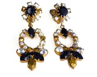 Austria Rhinestone Earrings, Metallic Rhinestones, Gold Silver, Black Jet, Chandelier Earrings, Austrian, Vintage Jewelry