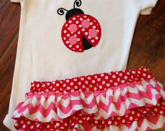 Personalized Ladybug Bodysuit and Diaper Cover Set-  Bodysuit Set-Personalized Embroidered Ladybug Bodysuit