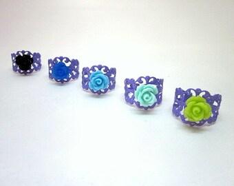 Purple Flower Rings -- Purple Adjustable Ring --  Purple Party Theme -- Purple Rings -- Purple Party Favors -- Purple Fashion Ring