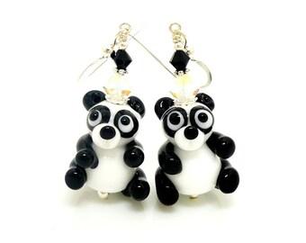 Panda Bear Earrings, Lampwork Earrings, Glass Earrings, Animal Earrings, Beadwork Earrings, Dangle Earrings, Glass Bead Jewelry, Whimsical