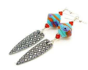 Southwestern Earrings, Dagger Earrings, Modern Earrings, Lampwork Earrings, Beadwork Earrings, Long Dangle Earrings, Spike Earrings, Unique