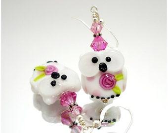 Pink & White Owl Earrings, Whimsical Earrings, Lampwork Earrings, Glass Bead Earrings, Glass Earrings, Beadwork Earrings