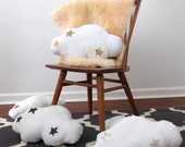 Starry Cloud Pillow - white linen and your choice of metallic faux leather in gold, silver or black