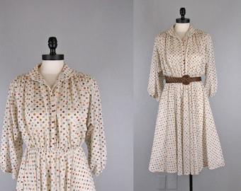 1970s Vintage Dress l 70s Polka Dot Print Sheer Peasant Style Dress