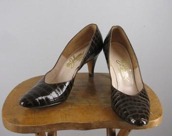 vintage 1960s brown crocodile pumps with new heels / 7.5