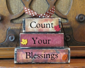 "Fall Decor, Fall Sign, Thanksgiving Decor, Thanksgivign Sign, Count Your Blessings Word Block Stacker, Measures 4.5"" tall x 5.5"" wide"