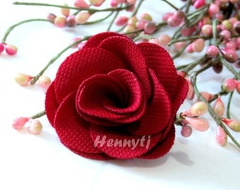 """Savannah Collection: 3 pcs DARK RED - 2"""" Fabric Textured Rose Bud Burlap Linen Flowers. Hair Accessories, Fascinator or Hat  Appliques"""
