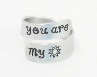 You are my sunshine ring - gift for mom - girlfriend gift - Grandma gift - grand-daughter gift - Sun ring - BFF gift - Boyfriend gift