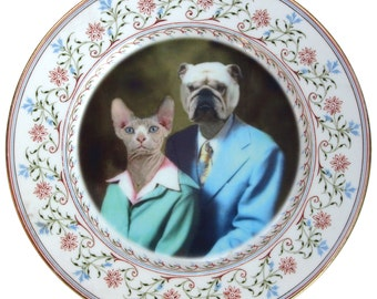 """Earl and Betty Portrait Plate - Altered Vintage Plate 8"""""""