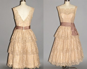 50s Dress, 1950s Prom Dress, Vintage 1950s Ecru Lace Party Dress, Will Steinman Original XS