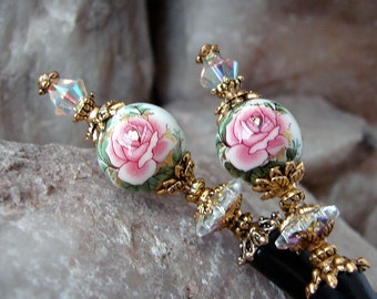 Hair Stick Pair with Pink Rose Japanese Tensha and Swarovski Crystals Set of Two - Niamh