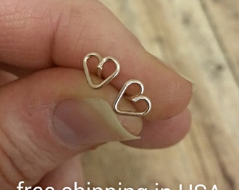 rose gold earrings heart FREE SHIPPING love