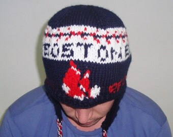 Personalized men's winter hat with ear flaps hand knit hat blue red white Boston Red Sox personalized Valentine's gift for men