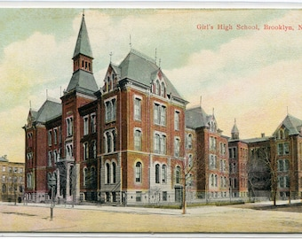 Girls High School Brooklyn New York 1910c postcard