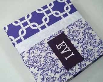 BABY MEMORY BOOK Baby Book girl baby book personalized baby book modern baby book custom baby book boy pregnancy journal Plum Purple Damask