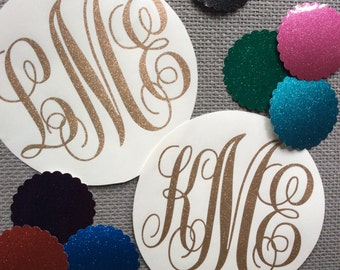 Sparkly Monogram Decal Personalized Decal Monogram Sticker Monogram Decal Monogram Car Decal Vinyl Decal Vinyl Monogram Vinyl Stickers