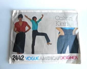 Vintage 1980s Calvin Klein Misses Jeans and Skirt Vogue Pattern