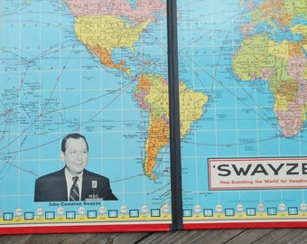 Rare Swayze Game Board 1954 Hop-Scotching the World for Headlines