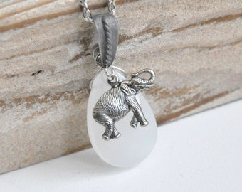 Silver Elephant Necklace, White Jade Teardrop Pendant Necklace, Tribal Elephant Jewelry, African Elephant, Antique Silver Chain, Unique Gift
