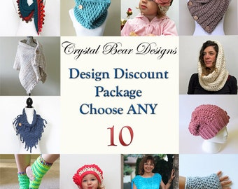 CROCHET PATTERN Discount Package Deal Choose Any 10