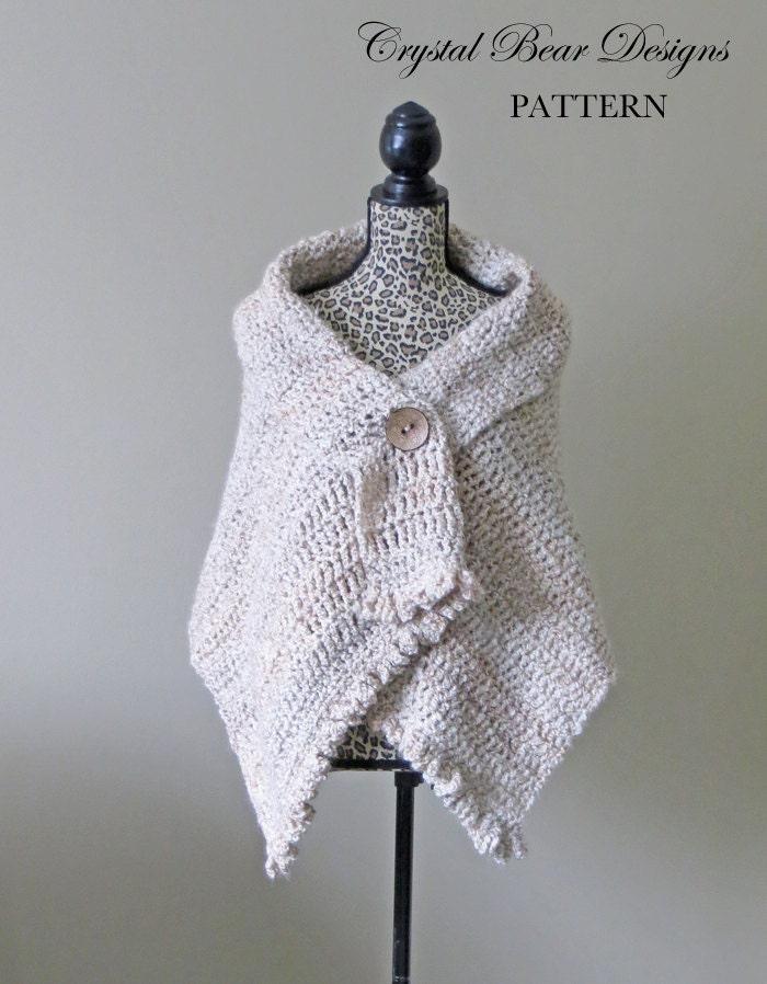 Crochet Shawl PATTERN / Button Wrap / Poncho / Easy Beginner