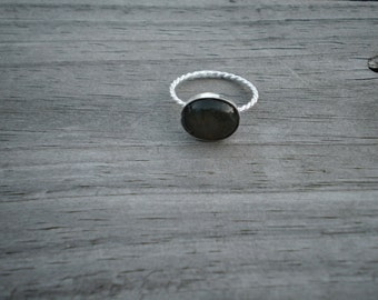 Oval Labradorite Stacking Ring, Sterling Silver, Size 8.5