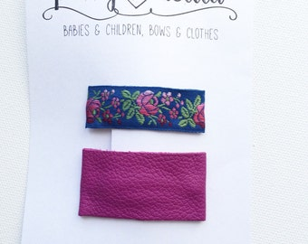Leather and vintage floral snap clip set-berry and blue